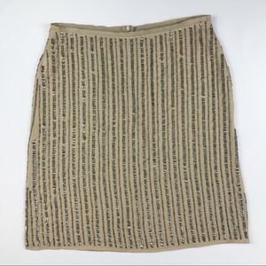 Stile Benetton Sequins Skirt Taupe Pencil Lined 6